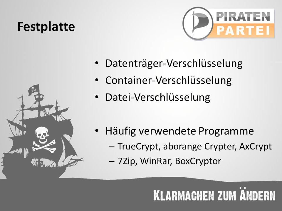 Festplatte Datenträger-Verschlüsselung Container-Verschlüsselung Datei-Verschlüsselung Häufig verwendete Programme – TrueCrypt, aborange Crypter, AxCr