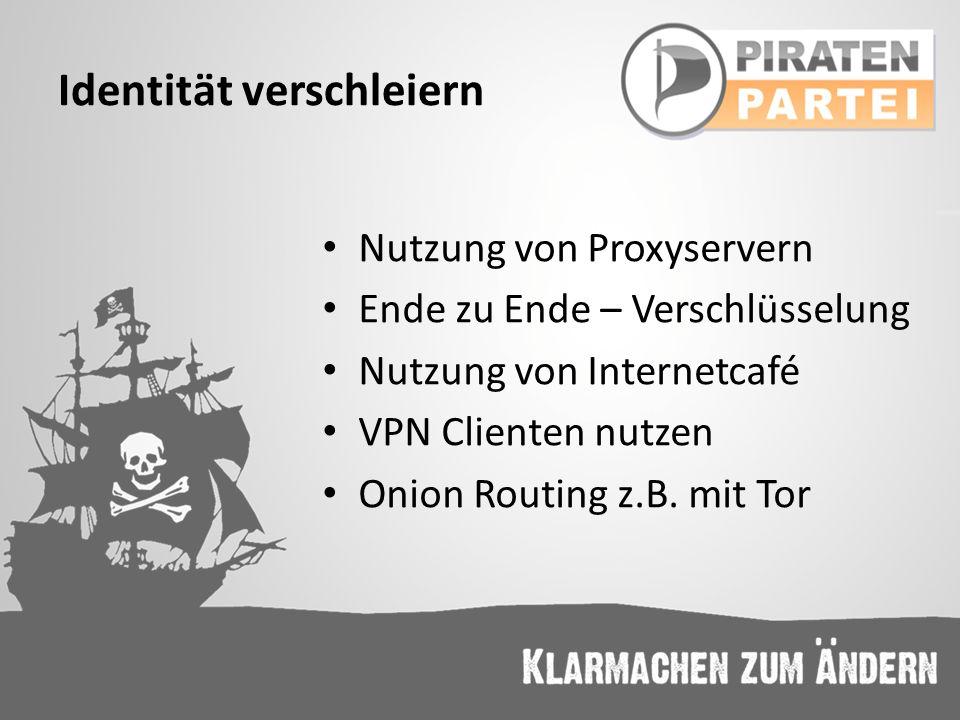 Identität verschleiern Nutzung von Proxyservern Ende zu Ende – Verschlüsselung Nutzung von Internetcafé VPN Clienten nutzen Onion Routing z.B. mit Tor