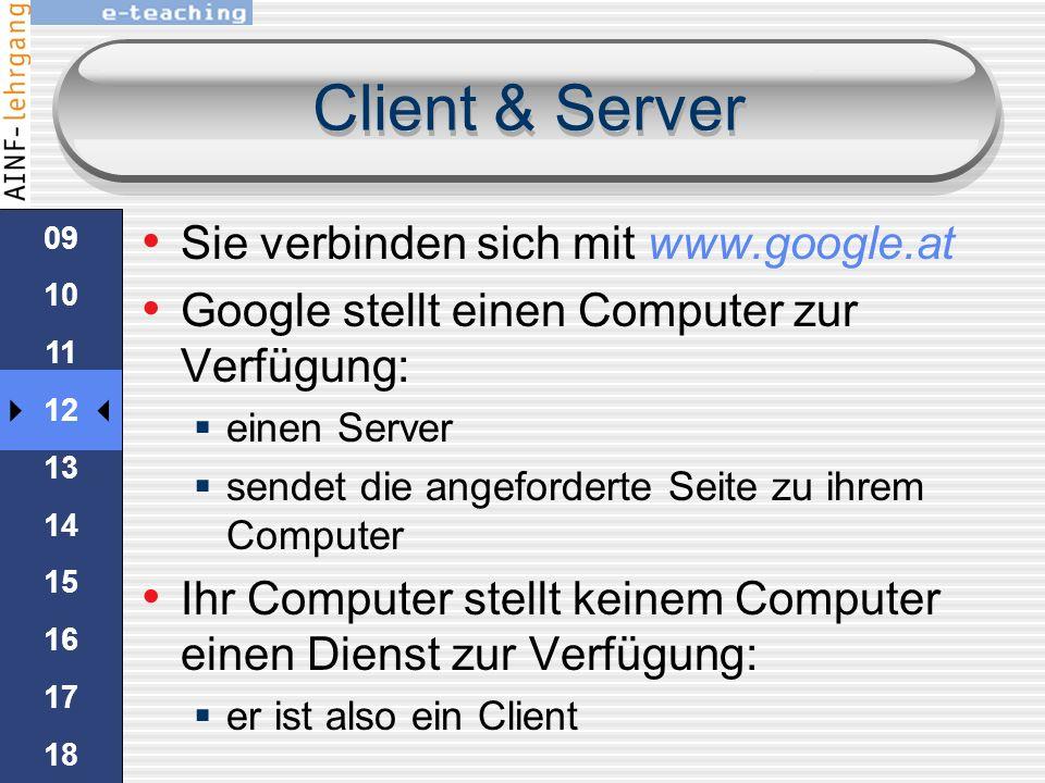 Client & Server im web gibt es zwei Typen von Computer: Client Server Alle Maschinen welche anderen Computern Dienste anbieten sind Server Computer we