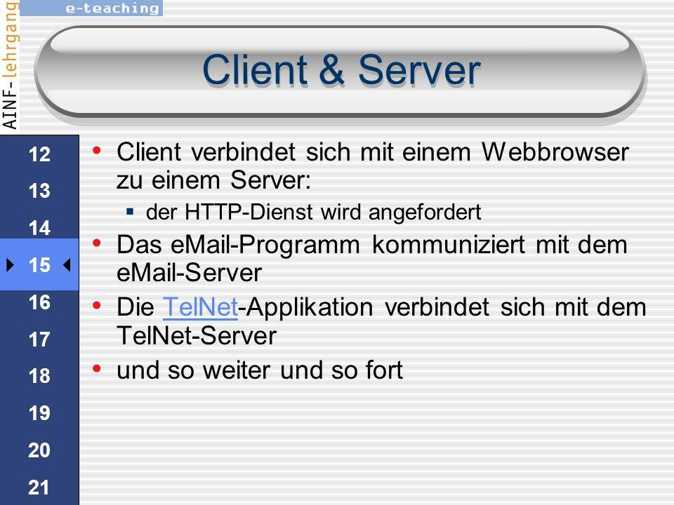 Client & Server Server-Computer kann einen oder mehrere Dienste anbieten. Zum Beispiel HTTP-Dienste und HTTP FTP-Dienste und FTP eMail-Dienste eMail C