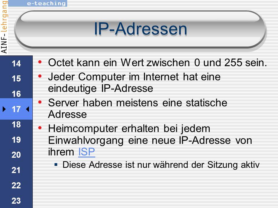IP-Adressen damit Computer kommunizieren können, benötigen sie eine eindeutige Kennung: die IP-Adresse.IP sind 32-Bit-Zahlen 2 32 Möglichkeiten werden