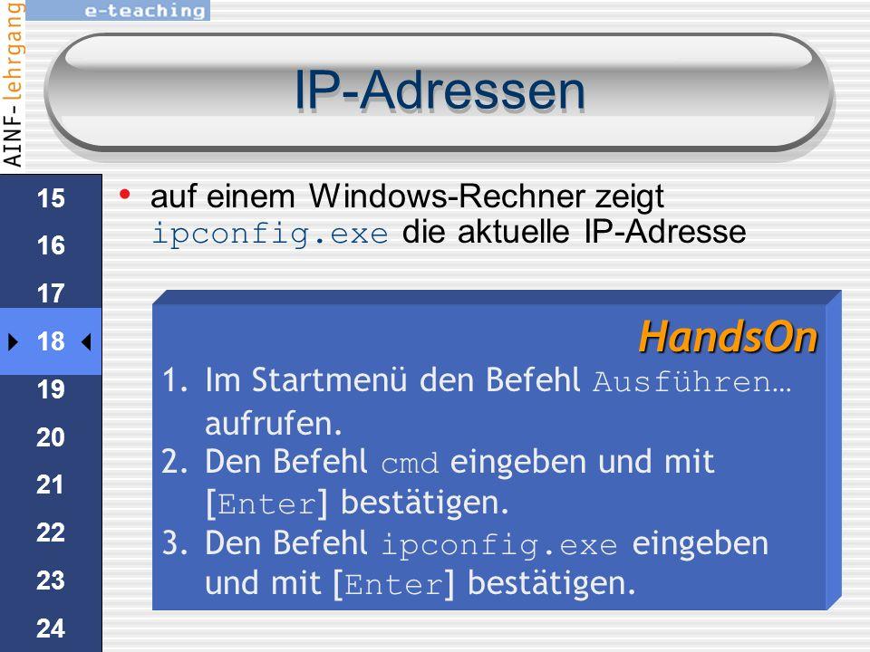 IP-Adressen Octet kann ein Wert zwischen 0 und 255 sein. Jeder Computer im Internet hat eine eindeutige IP-Adresse Server haben meistens eine statisch