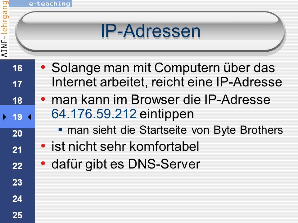 IP-Adressen auf einem Windows-Rechner zeigt ipconfig.exe die aktuelle IP-Adresse 15 16 17 18 19 20 21 22 23 24 25 HandsOn 1.Im Startmenü den Befehl Au