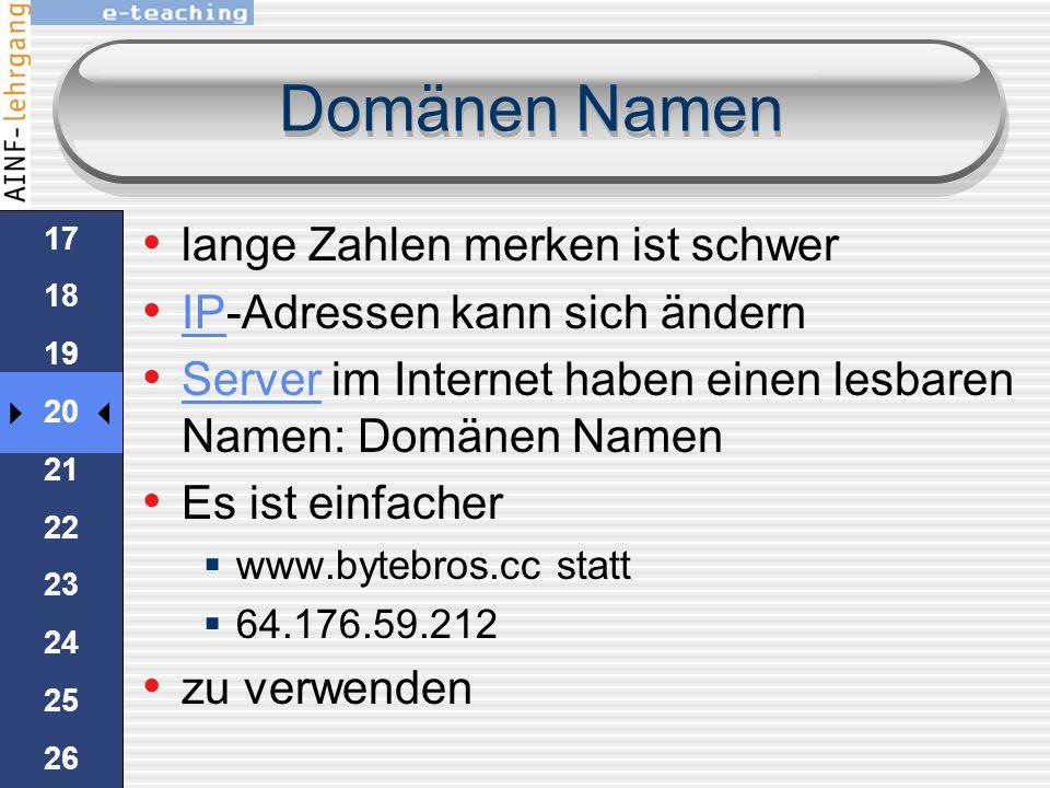 IP-Adressen Solange man mit Computern über das Internet arbeitet, reicht eine IP-Adresse man kann im Browser die IP-Adresse 64.176.59.212 eintippen ma
