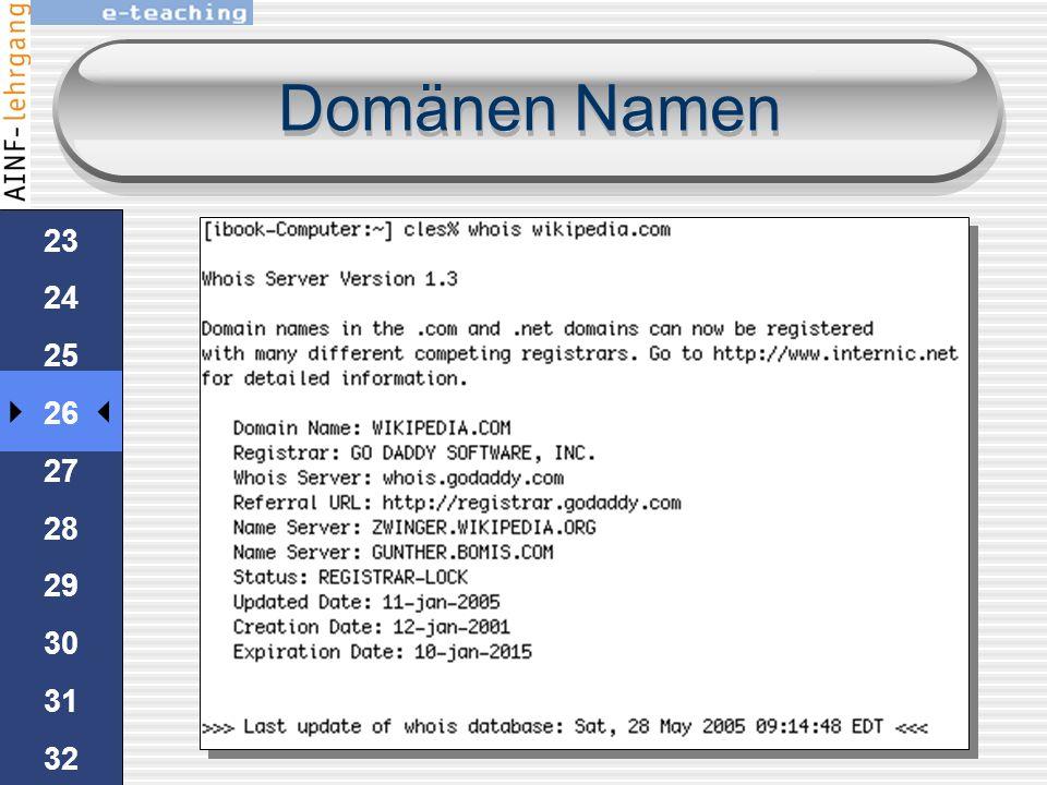 Domänen Namen 22 23 24 25 26 27 28 29 30 31 32 33 34 35 HandsOn www.nic.at 1.Rufen Sie in ihrem Browser den Registrar für Österreich www.nic.at auf. W