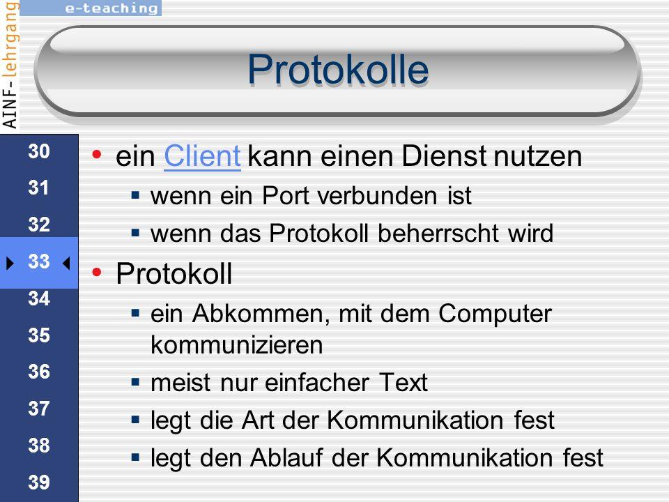 29 30 31 32 33 34 35 36 37 38 39 40 Ports Kein Zwang genormte Ports zu verwenden es ist möglich einen webServer unter http://www.besonderes.at http mi