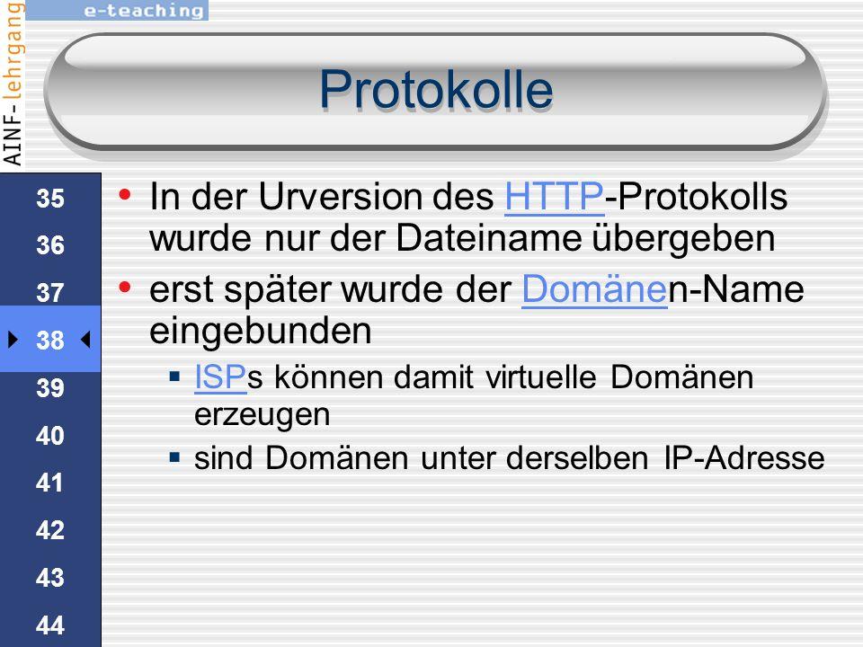 34 35 36 37 38 39 40 41 42 43 44 45 Protokolle Beispiel um index.html von www.schule.at mittels telnet abzurufen