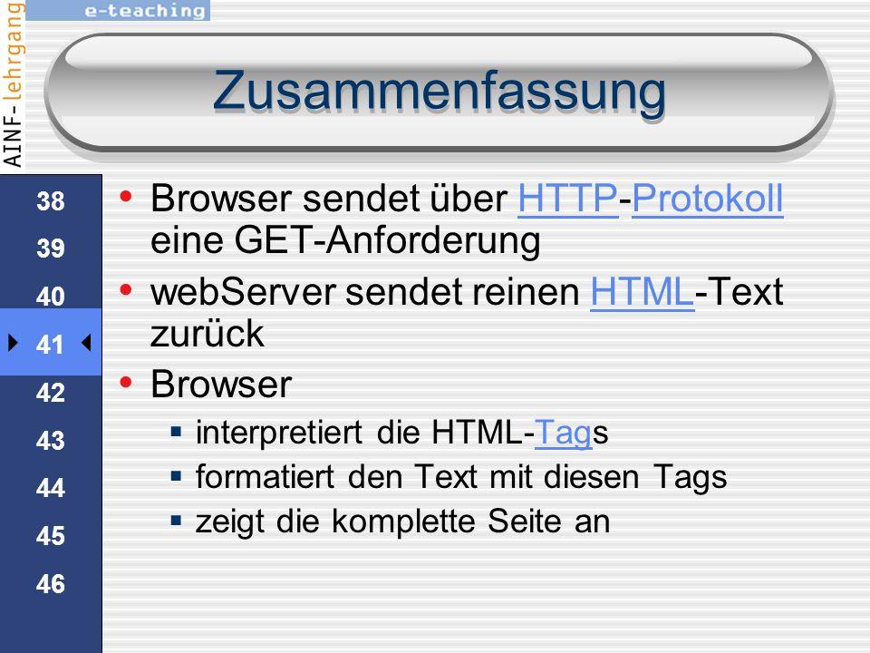 37 38 39 40 41 42 43 44 45 46 Zusammenfassung die URL in die Adresszeile des Browser wird in drei Teile aufteiltURLBrowser Das Protokoll: httpProtokol