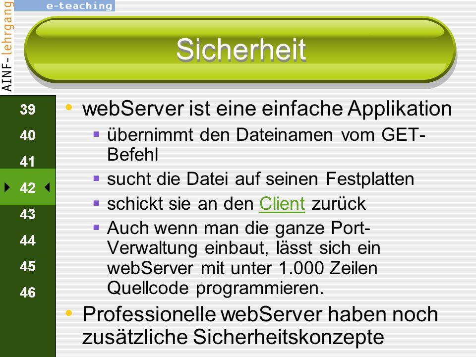38 39 40 41 42 43 44 45 46 Zusammenfassung Browser sendet über HTTP-Protokoll eine GET-AnforderungHTTPProtokoll webServer sendet reinen HTML-Text zurü