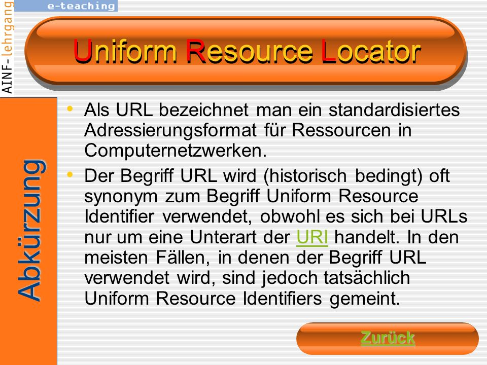 Top Level Domain bezeichnet den letzten Namen der URI höchste Ebene der Namensauflösung Beispiel: www.bytebros.cc.cc ist die TLD zwei Hauptgruppen all