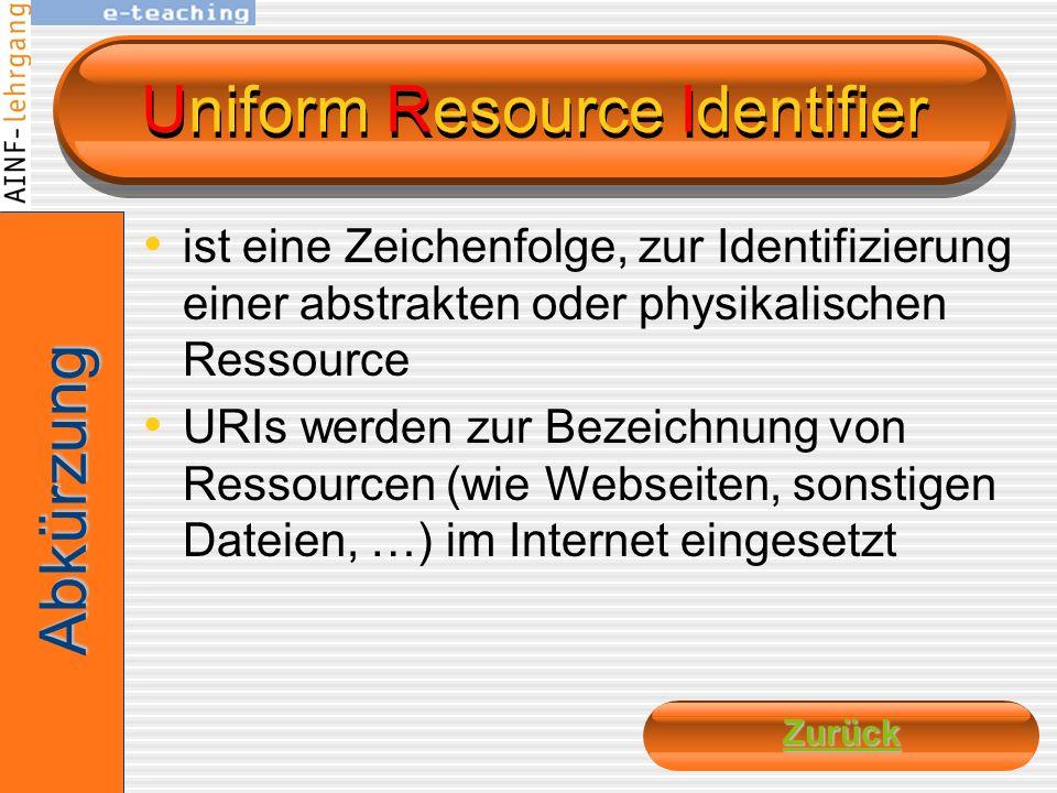 Uniform Resource Locator Als URL bezeichnet man ein standardisiertes Adressierungsformat für Ressourcen in Computernetzwerken. Der Begriff URL wird (h