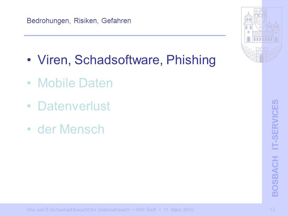 Wie viel IT-Sicherheit braucht Ihr Unternehmen? WIP-Treff 11. März 2010 BOSBACH IT-SERVICES 13 Bedrohungen, Risiken, Gefahren Viren, Schadsoftware, Ph