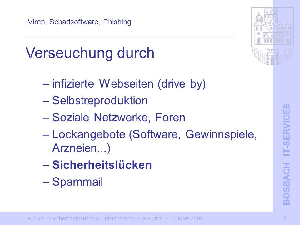 Wie viel IT-Sicherheit braucht Ihr Unternehmen? WIP-Treff 11. März 2010 BOSBACH IT-SERVICES 16 Viren, Schadsoftware, Phishing –infizierte Webseiten (d