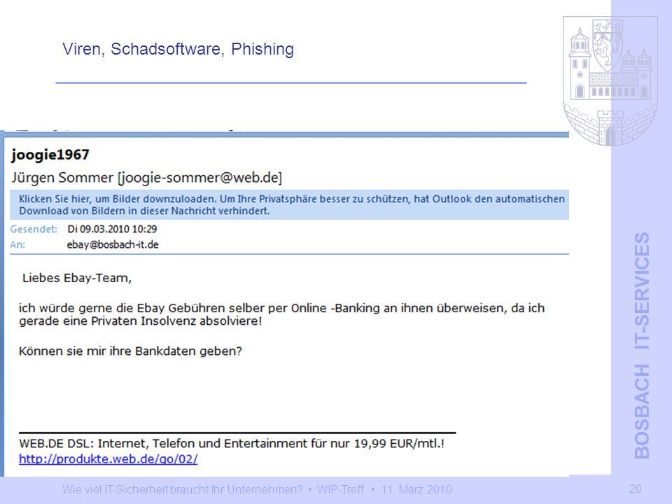 Wie viel IT-Sicherheit braucht Ihr Unternehmen? WIP-Treff 11. März 2010 BOSBACH IT-SERVICES 20 Viren, Schadsoftware, Phishing