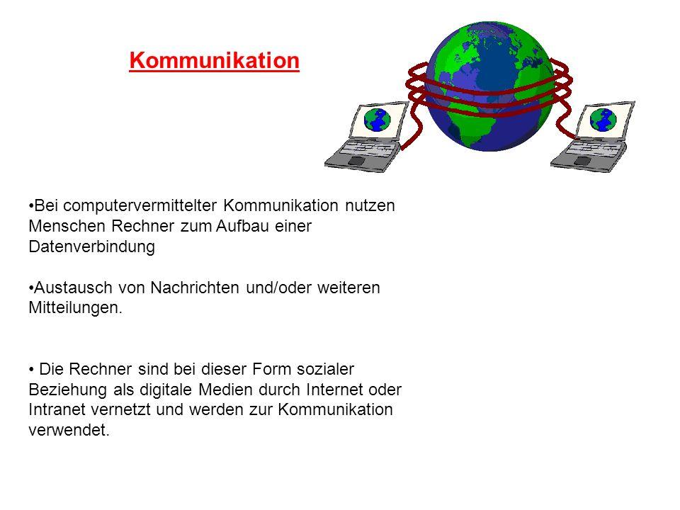 Kommunikation Bei computervermittelter Kommunikation nutzen Menschen Rechner zum Aufbau einer Datenverbindung Austausch von Nachrichten und/oder weite