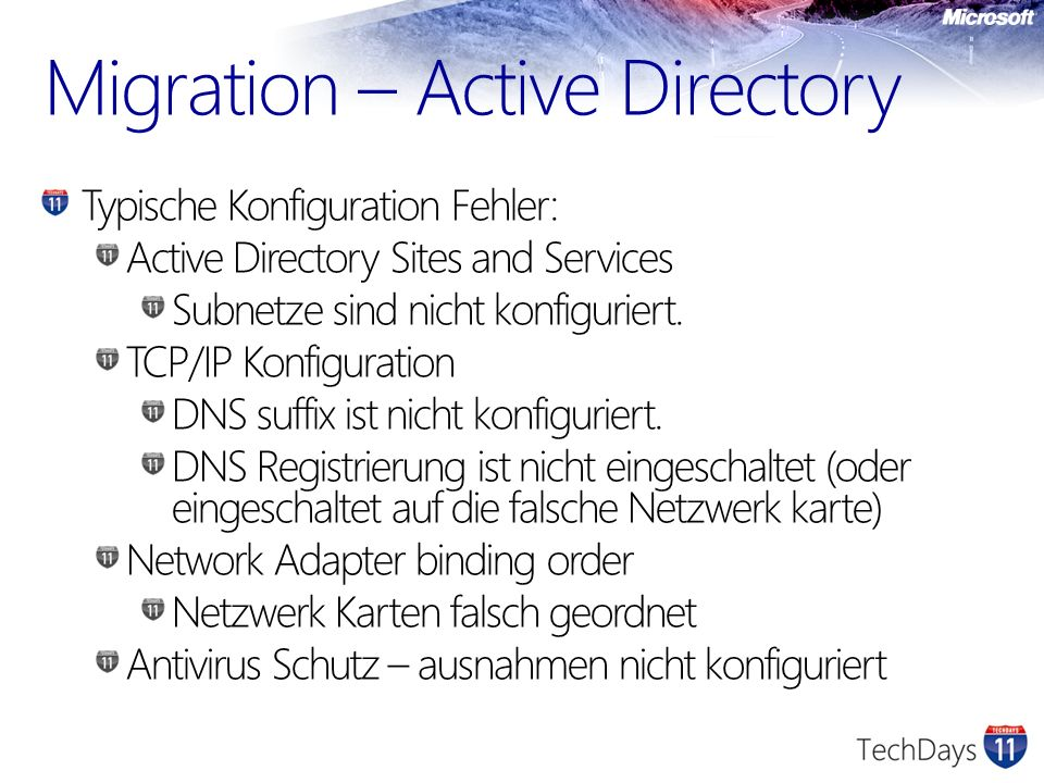 Migration – Active Directory Typische Konfiguration Fehler: Active Directory Sites and Services Subnetze sind nicht konfiguriert.