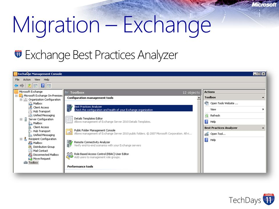Migration – Exchange Exchange Best Practices Analyzer