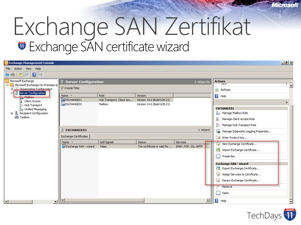 Exchange SAN Zertifikat Exchange SAN certificate wizard