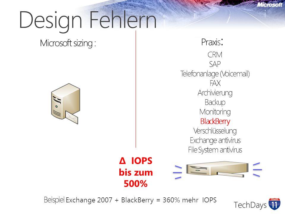Design Design Empfehlungen Datenbank nicht großer als 100 GB Beeinflusst die Große von Wartung Partition Weniger zeit offline beim restore/Reparatur oder Datenbank Wartung Jedes Datenbank auf eigenes volume (Backup ist volume basiert in Exchange 2010) Wie viele Benutzer pro Server .
