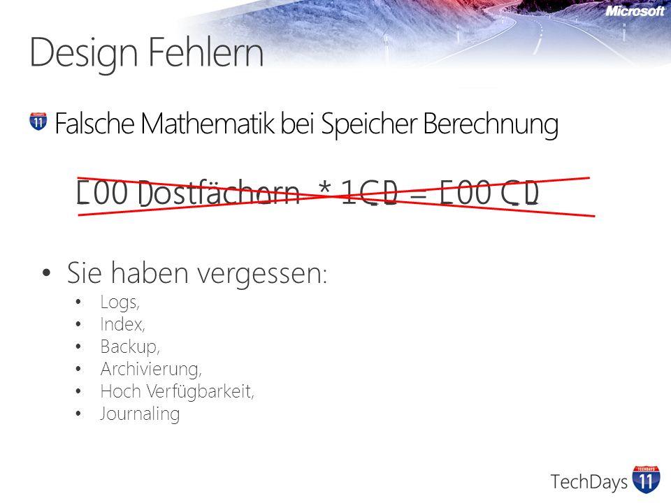 Design Fehlern Falsche Leistung Mathematik 10 Festplatten x 1000 TB = 20 Festplatten x 500 GB Mehr Festplatten = mehr Leistung