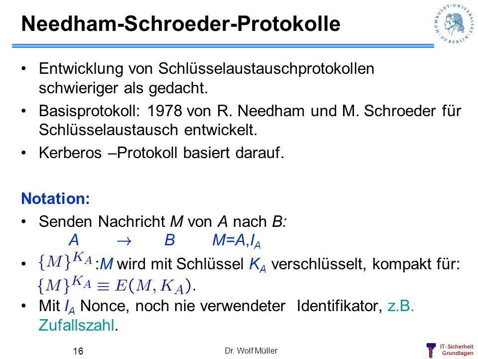 IT-Sicherheit Grundlagen Needham-Schroeder-Protokolle Entwicklung von Schlüsselaustauschprotokollen schwieriger als gedacht. Basisprotokoll: 1978 von