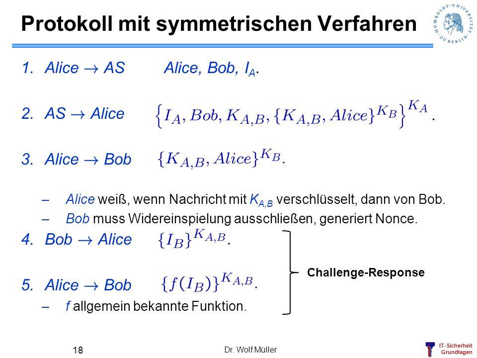 IT-Sicherheit Grundlagen Protokoll mit symmetrischen Verfahren 1.Alice ! ASAlice, Bob, I A. 2.AS ! Alice 3.Alice ! Bob –Alice weiß, wenn Nachricht mit