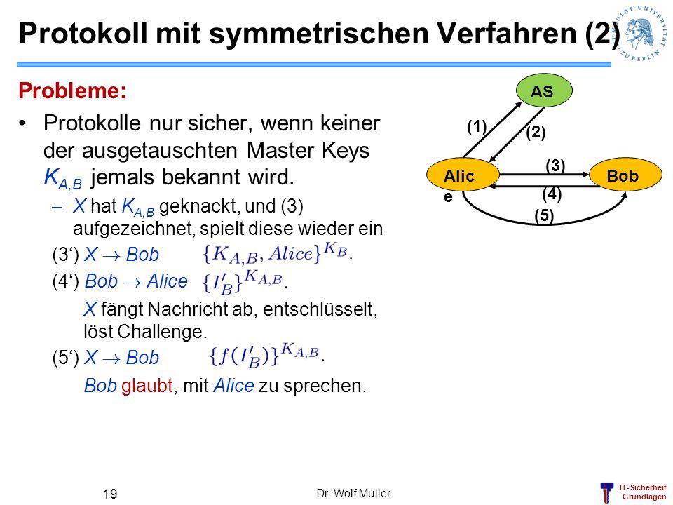 IT-Sicherheit Grundlagen Protokoll mit symmetrischen Verfahren (2) Probleme: Protokolle nur sicher, wenn keiner der ausgetauschten Master Keys K A,B j