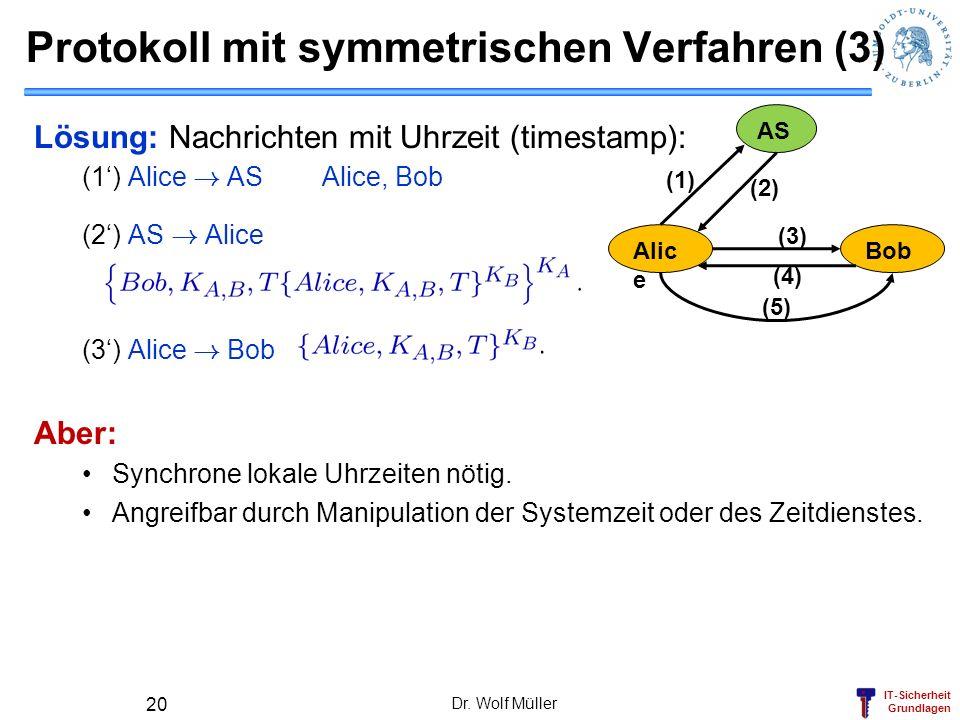 IT-Sicherheit Grundlagen Protokoll mit symmetrischen Verfahren (3) Dr. Wolf Müller 20 AS Alic e Bob (1) (2) (3) (4) (5) Lösung: Nachrichten mit Uhrzei