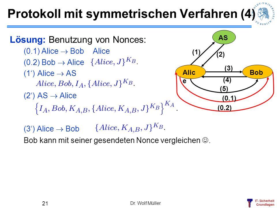 IT-Sicherheit Grundlagen Lösung: Benutzung von Nonces: (0.1) Alice ! BobAlice (0.2) Bob ! Alice (1)Alice ! AS (2)AS ! Alice (3) Alice ! Bob Bob kann m