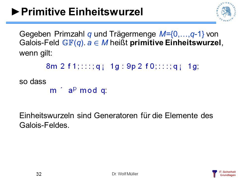 IT-Sicherheit Grundlagen Primitive Einheitswurzel Gegeben Primzahl q und Trägermenge M={0,…,q-1} von Galois-Feld GF (q). a 2 M heißt primitive Einheit