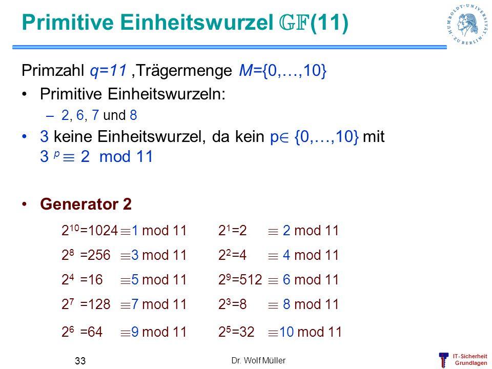 IT-Sicherheit Grundlagen Primitive Einheitswurzel GF (11) Primzahl q=11,Trägermenge M={0,…,10} Primitive Einheitswurzeln: –2, 6, 7 und 8 3 keine Einhe
