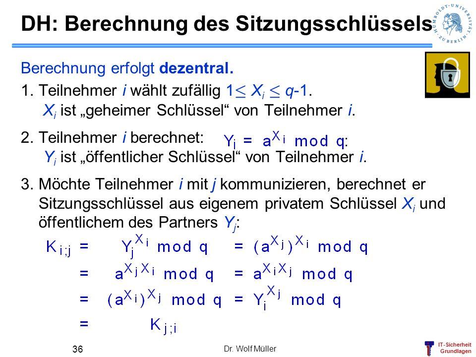 IT-Sicherheit Grundlagen DH: Berechnung des Sitzungsschlüssels Berechnung erfolgt dezentral. 1.Teilnehmer i wählt zufällig 1 · X i · q-1. X i ist gehe