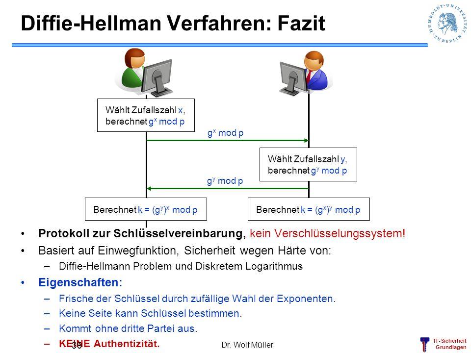 IT-Sicherheit Grundlagen Diffie-Hellman Verfahren: Fazit Protokoll zur Schlüsselvereinbarung, kein Verschlüsselungssystem! Basiert auf Einwegfunktion,