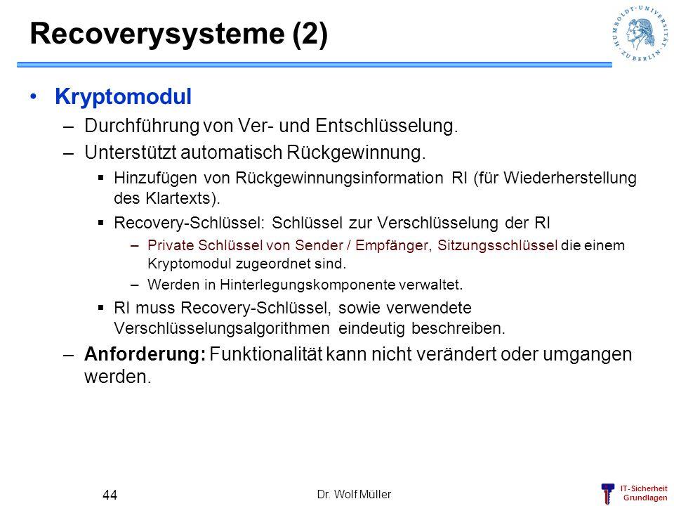 IT-Sicherheit Grundlagen Recoverysysteme (2) Kryptomodul –Durchführung von Ver- und Entschlüsselung. –Unterstützt automatisch Rückgewinnung. Hinzufüge