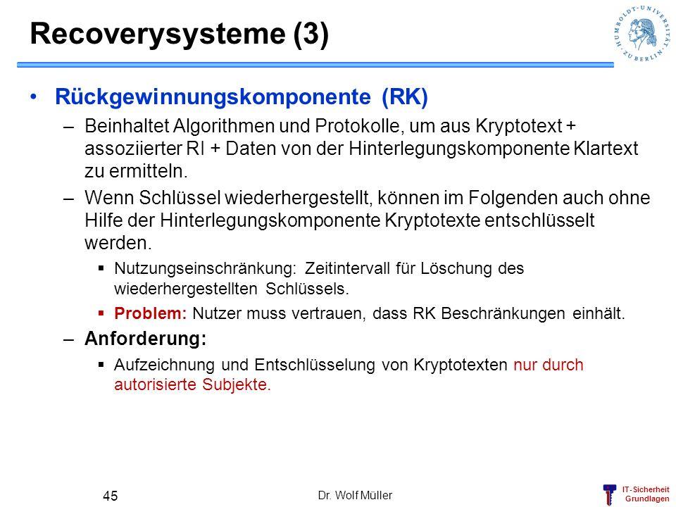 IT-Sicherheit Grundlagen Recoverysysteme (3) Rückgewinnungskomponente (RK) –Beinhaltet Algorithmen und Protokolle, um aus Kryptotext + assoziierter RI