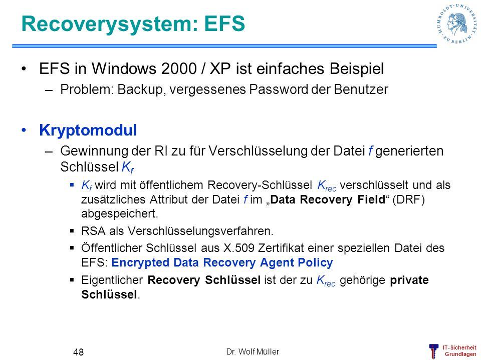 IT-Sicherheit Grundlagen Recoverysystem: EFS EFS in Windows 2000 / XP ist einfaches Beispiel –Problem: Backup, vergessenes Password der Benutzer Krypt