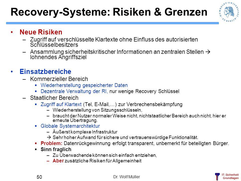 IT-Sicherheit Grundlagen Recovery-Systeme: Risiken & Grenzen Neue Risiken –Zugriff auf verschlüsselte Klartexte ohne Einfluss des autorisierten Schlüs