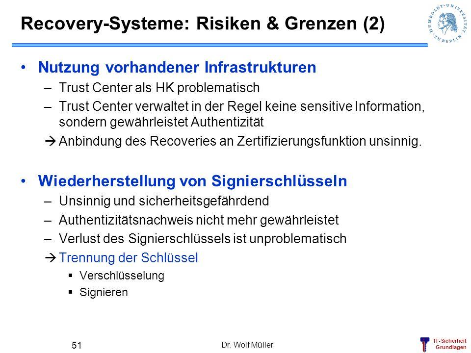 IT-Sicherheit Grundlagen Recovery-Systeme: Risiken & Grenzen (2) Nutzung vorhandener Infrastrukturen –Trust Center als HK problematisch –Trust Center