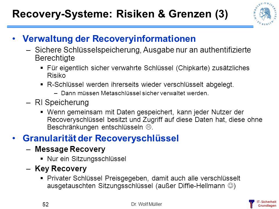 IT-Sicherheit Grundlagen Recovery-Systeme: Risiken & Grenzen (3) Verwaltung der Recoveryinformationen –Sichere Schlüsselspeicherung, Ausgabe nur an au
