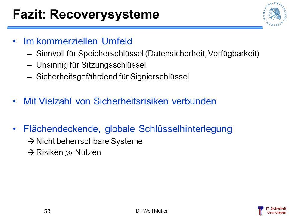 IT-Sicherheit Grundlagen Fazit: Recoverysysteme Im kommerziellen Umfeld –Sinnvoll für Speicherschlüssel (Datensicherheit, Verfügbarkeit) –Unsinnig für