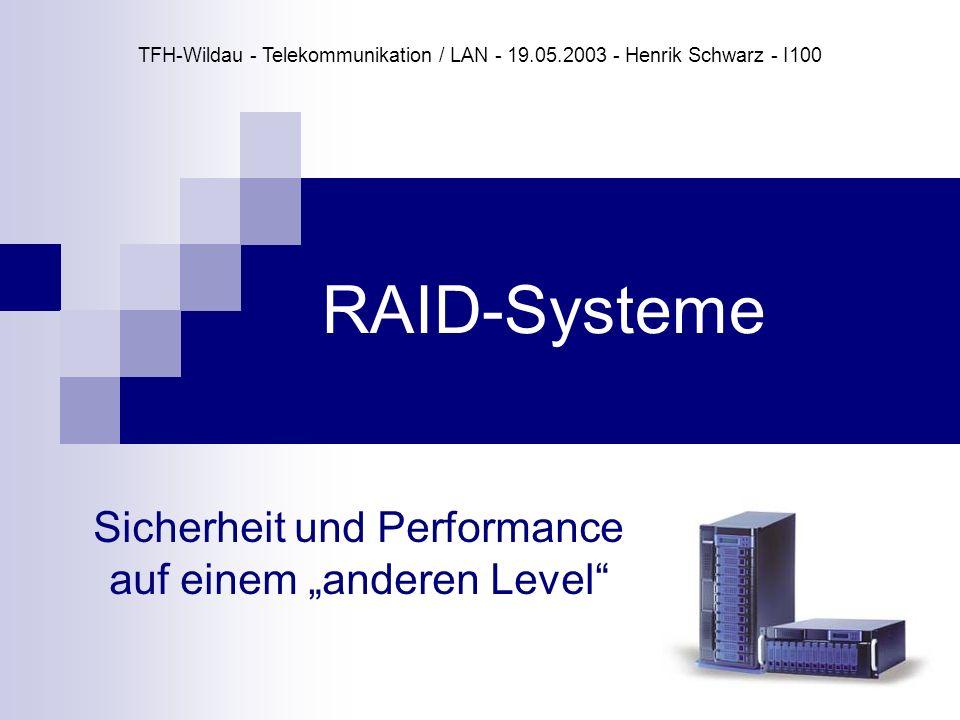 RAID-Systeme Sicherheit und Performance auf einem anderen Level TFH-Wildau - Telekommunikation / LAN - 19.05.2003 - Henrik Schwarz - I100