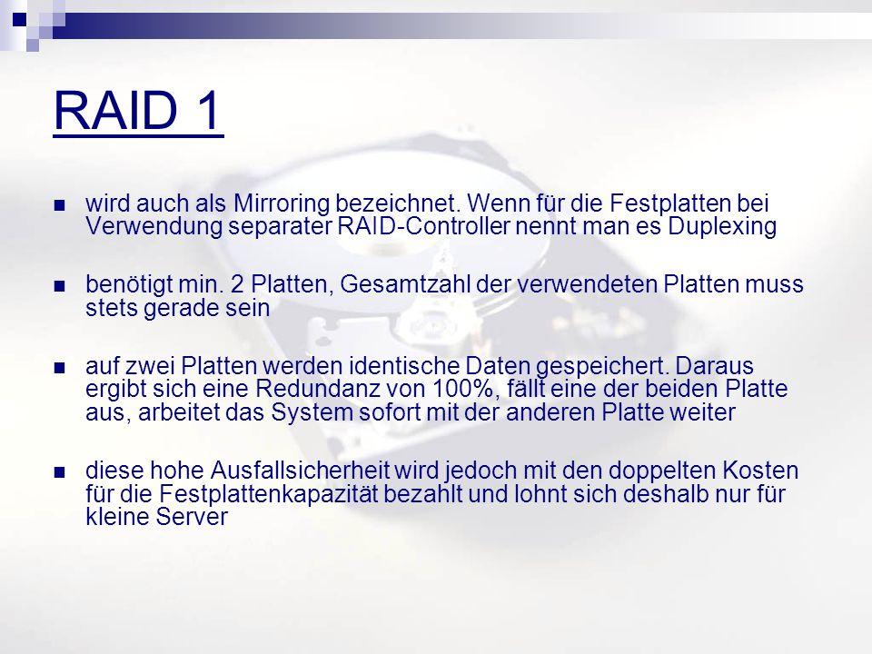 RAID 1 wird auch als Mirroring bezeichnet. Wenn für die Festplatten bei Verwendung separater RAID-Controller nennt man es Duplexing benötigt min. 2 Pl