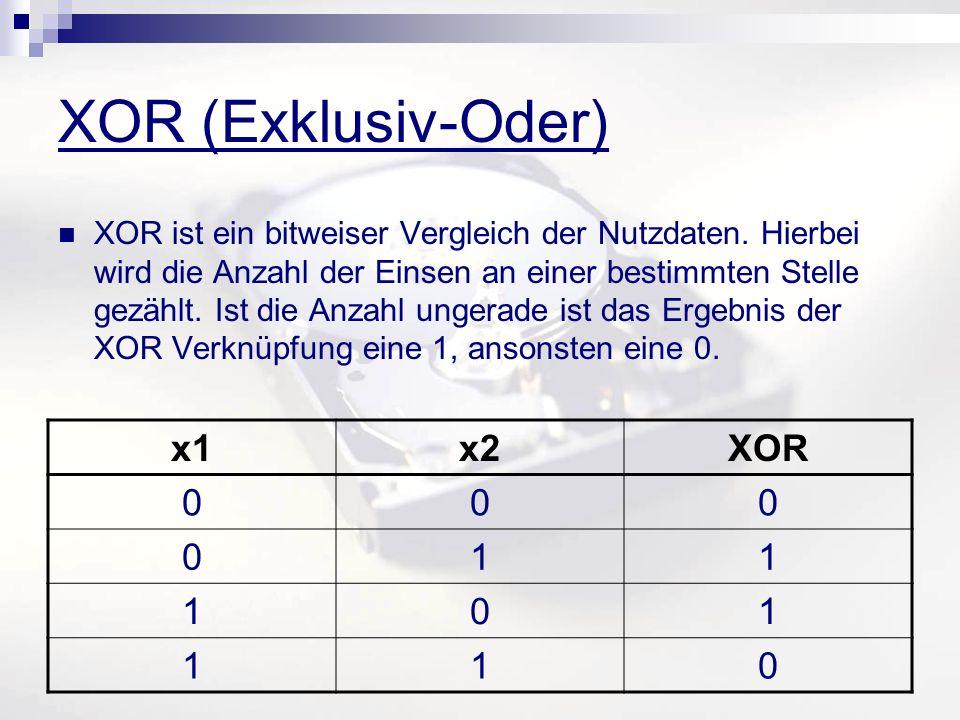 XOR (Exklusiv-Oder) XOR ist ein bitweiser Vergleich der Nutzdaten. Hierbei wird die Anzahl der Einsen an einer bestimmten Stelle gezählt. Ist die Anza