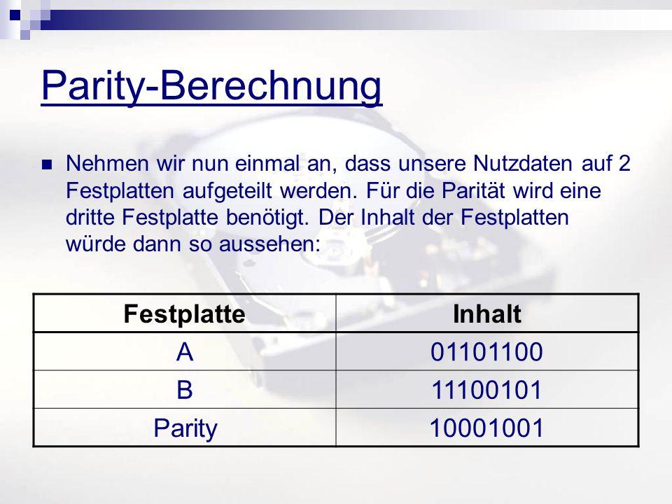 Parity-Berechnung Nehmen wir nun einmal an, dass unsere Nutzdaten auf 2 Festplatten aufgeteilt werden. Für die Parität wird eine dritte Festplatte ben