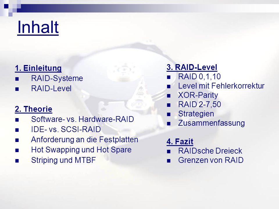 Inhalt 1. Einleitung RAID-Systeme RAID-Level 2. Theorie Software- vs. Hardware-RAID IDE- vs. SCSI-RAID Anforderung an die Festplatten Hot Swapping und