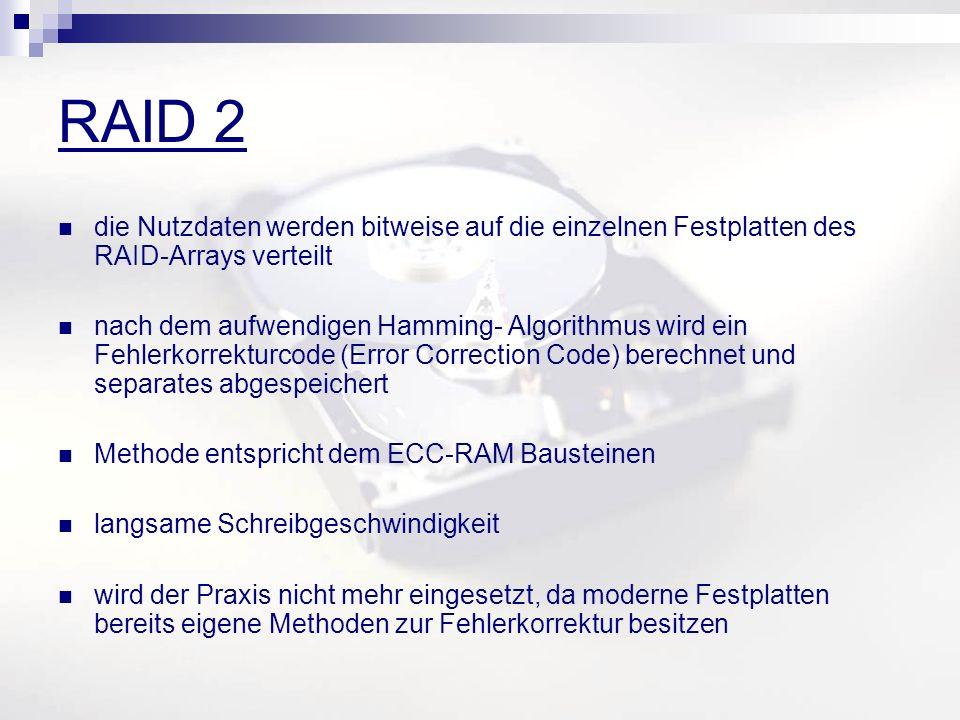 RAID 2 die Nutzdaten werden bitweise auf die einzelnen Festplatten des RAID-Arrays verteilt nach dem aufwendigen Hamming- Algorithmus wird ein Fehlerkorrekturcode (Error Correction Code) berechnet und separates abgespeichert Methode entspricht dem ECC-RAM Bausteinen langsame Schreibgeschwindigkeit wird der Praxis nicht mehr eingesetzt, da moderne Festplatten bereits eigene Methoden zur Fehlerkorrektur besitzen