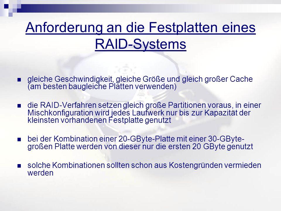 Anforderung an die Festplatten eines RAID-Systems gleiche Geschwindigkeit, gleiche Größe und gleich großer Cache (am besten baugleiche Platten verwenden) die RAID-Verfahren setzen gleich große Partitionen voraus, in einer Mischkonfiguration wird jedes Laufwerk nur bis zur Kapazität der kleinsten vorhandenen Festplatte genutzt bei der Kombination einer 20-GByte-Platte mit einer 30-GByte- großen Platte werden von dieser nur die ersten 20 GByte genutzt solche Kombinationen sollten schon aus Kostengründen vermieden werden