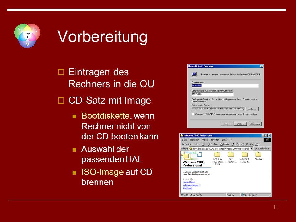 11 Vorbereitung Eintragen des Rechners in die OU CD-Satz mit Image Bootdiskette, wenn Rechner nicht von der CD booten kann Auswahl der passenden HAL ISO-Image auf CD brennen