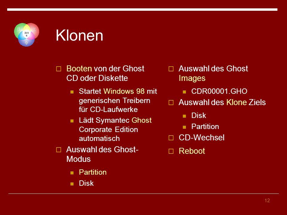 12 Klonen Booten von der Ghost CD oder Diskette Startet Windows 98 mit generischen Treibern für CD-Laufwerke Lädt Symantec Ghost Corporate Edition automatisch Auswahl des Ghost- Modus Partition Disk Auswahl des Ghost Images CDR00001.GHO Auswahl des Klone Ziels Disk Partition CD-Wechsel Reboot