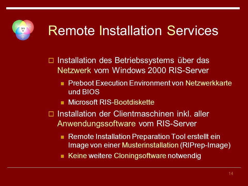14 Remote Installation Services Installation des Betriebssystems über das Netzwerk vom Windows 2000 RIS-Server Preboot Execution Environment von Netzwerkkarte und BIOS Microsoft RIS-Bootdiskette Installation der Clientmaschinen inkl.